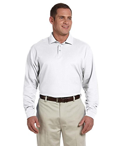 - Devon & Jones Classic Long Sleeve Pima Polo Shirt - Large - WHITE