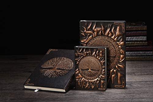 YHH A5 Notizbuch Liniert, Vintage Leder Schönes Tagebuch Organizer Lined Buch Reisetagebuch zum selberschreiben Journal GeburtstagGeschenk für Männer Frauen Erwachsene Kinder, 3D Phönix Kupfer