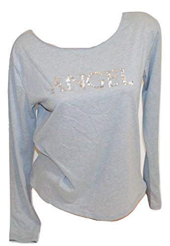 Victoria's Secret Pajama Top Sleep T-Shirt Long Sleeves Sequin Angel Grey S