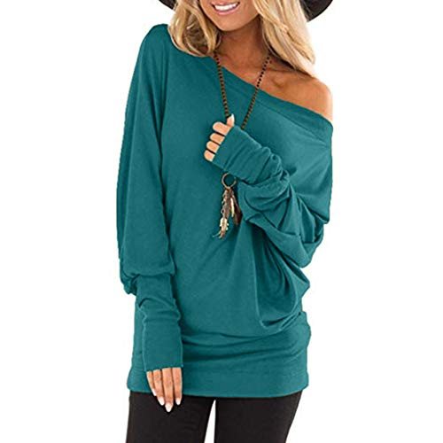 Lowpricenice DaySeventh Women Casual Cold Shoulder Long Sleeve T-Shirt Tops Loose Tunic Blouse BU/XL