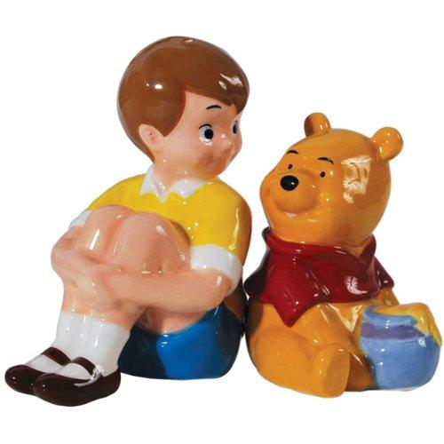 Westland Giftware Magnetic Ceramic Disney Christopher Robin and Pooh Salt and Pepper Shaker Set, (Pooh Ceramic)