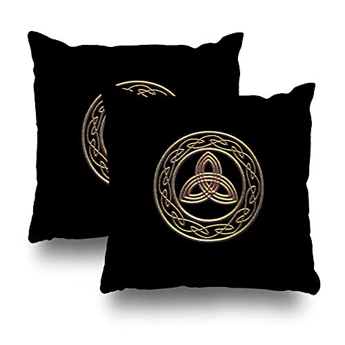 WAYATO Set of 2 Pillow Case Cotton Polyester Blend Throw Pillow Covers Bronze Look Trinity Metallic Celtic Knot Bed Home Decor Cushion Cover 18X18 Inch ()