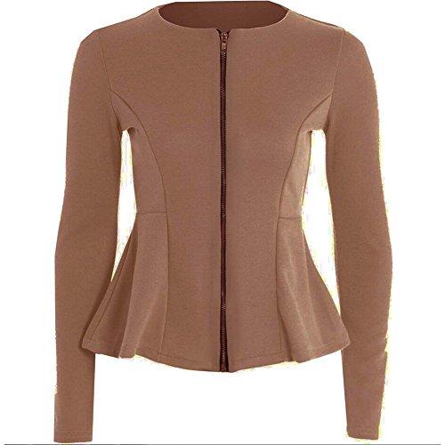 Janecrafts Women's Collarless Long Sleeve Zip Up OL Flare Work to Wear Blazer Top Suit Coat Jacket
