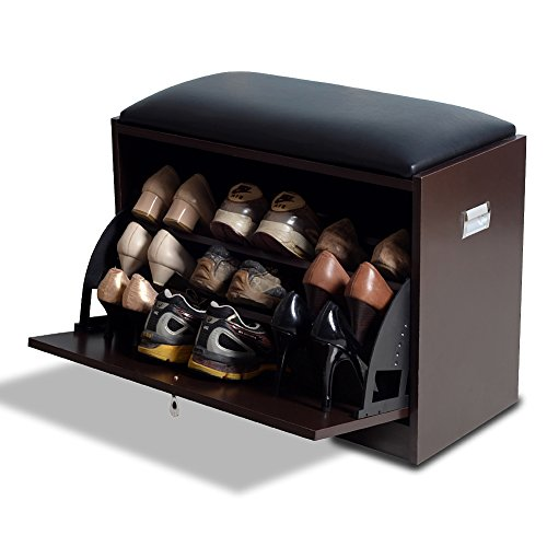 Gls Brown Modern Shoe Bench Storage Ottoman With Pu