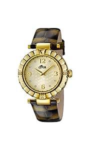 Lotus Reloj de cuarzo para mujer con oro esfera analógica pantalla y correa de piel color marrón 15912/6
