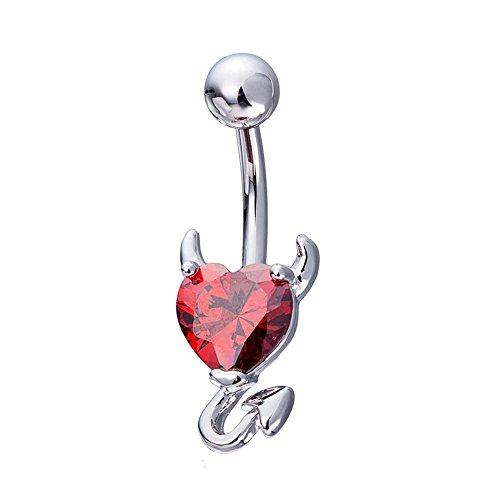Devil Belly Ring - ZHUOTOP Womenn Rhinestone Navel Belly Rings Button Bar Heart Devil Design Sexy Body Piercing Jewelry Red