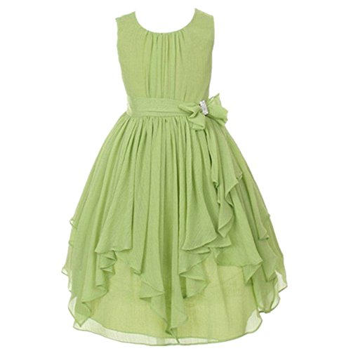 Price comparison product image AMUR LEOPARD Baby Girl Skirt Flower Wedding Bridesmaid Party Dress Sleeveless Suit Princess Dresses(5-6T, Green)