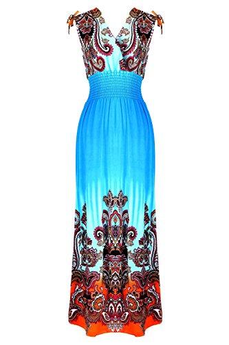 G2 Chic Women's Summer Tribal Printed Maxi Dress(DRS-MAX,LGN-M)