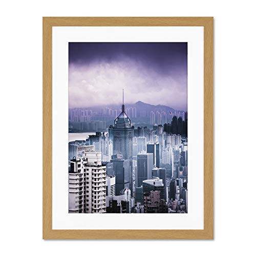 Bracket Wall Cityscape (Annie Spratt Hong Kong Cityscape Large Art Print Poster Wall Decor 18x24 inch Supplied Ready to Hang with Included Mount Brackets)