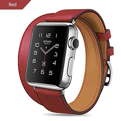 LSAZgaiyu New 44Mm Genuine Leather Band for Apple Watch Series 4 3 2 1 Double Tour Bracelet Leather Strap Watchband 38Mm Sport 42Mm Woman Red - Bracelet Strap Double Watch