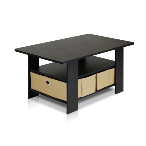 Furinno 11158EX/BR Coffee Table with Bins, Espresso/Brown (Cocktail Set Storage Table)