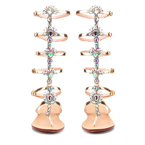 - AZMODO Golden Color Shining Rhinestones Thong Flat Sandals X96-2 (US 11 / EU 43 / UK 9 / CN 44)