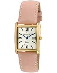 Best Deal Peugeot 14K Gold Plated Tank Roman Numeral Pink Suede Band Watch 3036SPK
