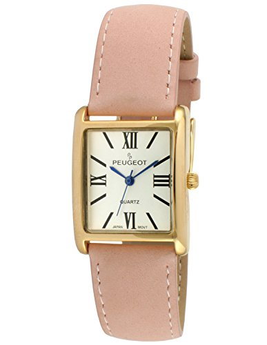 Peugeot Women's 14K Gold Plated Tank Leather Dress Watch with Roman Numerals Dial, Pink