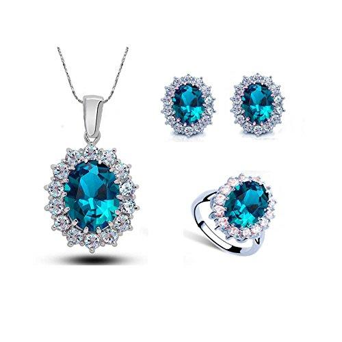Dangle Earrings Women Jewelry Set SENFAI Blue Ocean Sea Wave Pendant Necklace 18