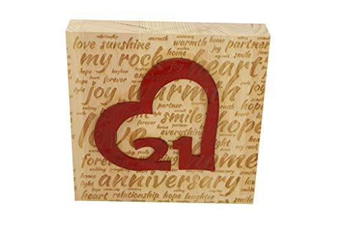 21st Wedding Anniversary Word Art Beech Block with 21 Year Acrylic Heart - 21st Anniversary Ornament ()