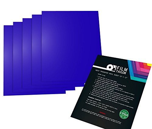 FilmTailor [PU HTV] 10 x 12 Heat Transfer Vinyl Basic 5 Sheets Excellent for T-Shirt, Hats and Any Fabric, Iron on for Silhouette Cameo, Cricut, Heat Press Machines. (Royal Blue)