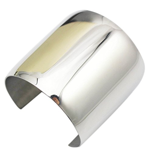 COUYA Silver Wide Cuff Bracelet Stainless Steel Smooth Polish Bangle for Women Lady Girls