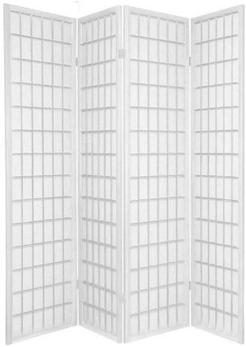 BlueBoxInnovations TOKYO White Handmade Wood Paper 4 Pane Room Divider/Splitter Screen