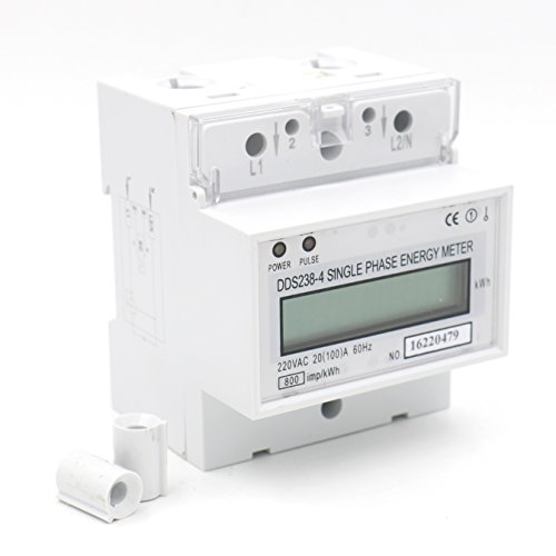 Baomain Single Phase DIN-rail Type Kilowatt Hour kwh Meter 220V 60Hz 20 - Meter Watt Electric Hour