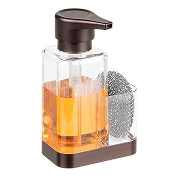 mDesign Dosificador de jabón con soporte para esponja - Dispensador de jabón de manos para fregaderos - Dispensador de jabón en espuma de plástico y ...