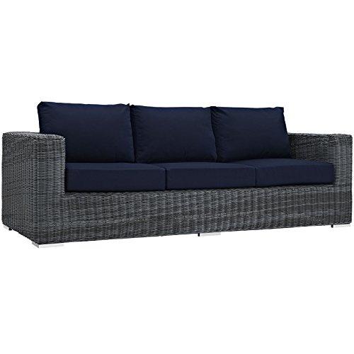 Modway Summon Outdoor Patio Sofa With Sunbrella Brand Navy Canvas Cushions