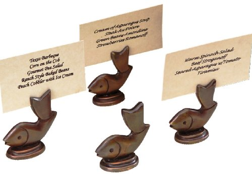 Fish Place Card Holders (Shastra Copper Placecard or Menu Holders, Set of 4, Fish)