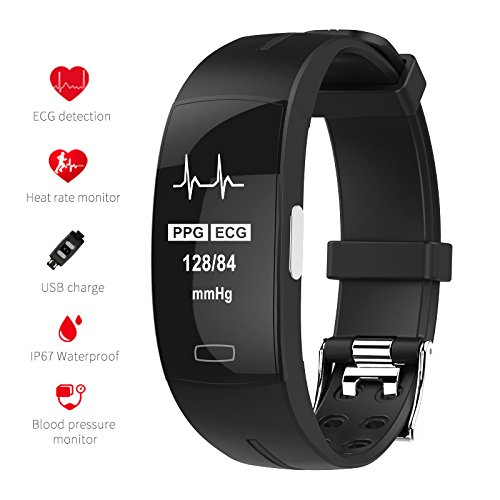 TOM TONY P3 ECG Fitness Tracker HR Real Time All-Day Dynamic Heart Rate Monitor Wristband Blood Pressure Monitoring Smart Bracelet Waterproof Ip67 Smartband with Calorie Pedometer Sleep Monitor
