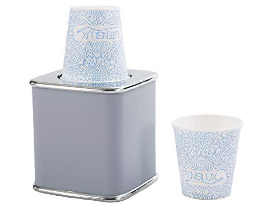 Utensilux Bathroom Cup Holder, 3 oz and 5 oz Vanity Cup Dispenser (Silver/Gray) Dixie Cup Compatible (Dixie Cup Dispenser 5 Oz)
