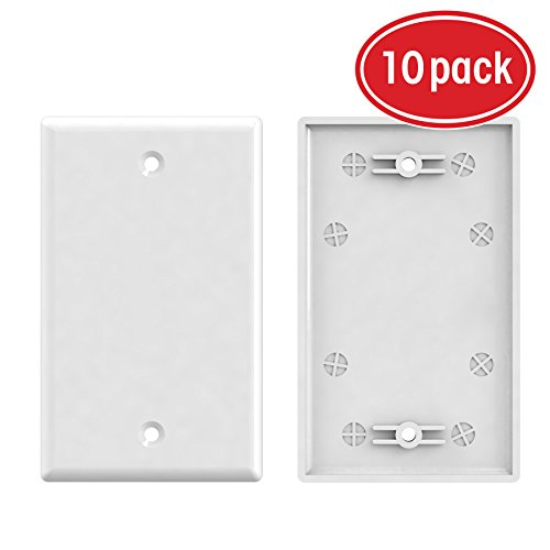 Cover Hole Wall (1-Gang Blank Wall Plate, GearIT 10-Pack Blank Wall Plates Outlet Covers - Standard Size Single-Gang Smooth Polished Finish, White)