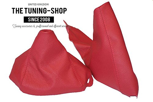 For Bmw 1 Series E81 E82 E87 E88 2007-13 Shift & E brake Boot Red Leather - For model with original Vinyl Boot