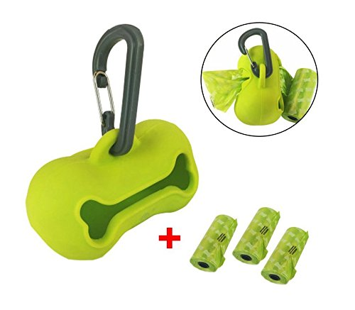 OCSOSO Soft Silicone Dog Waste Bag Holder Dog Tail Poo Pack Clip Pooper Poop Bags with 3 Rolls Piqapoo Bags (Green)