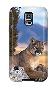 High Quality Matt C Brown Lion Skin Case Cover Specially Designed For Galaxy - S5
