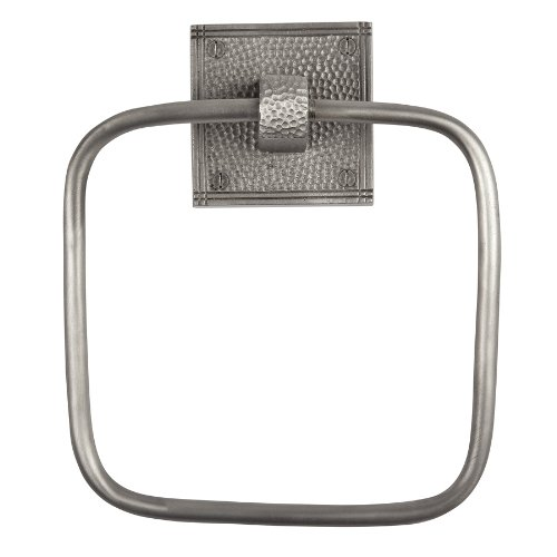 (The Copper Factory CF135SN Solid Copper Towel Ring with a Square Backplate, Satin Nickel)