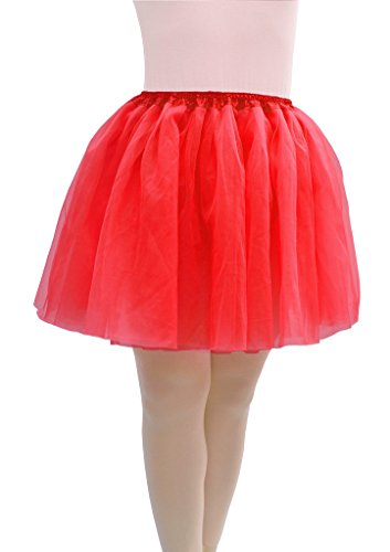 [Dancina Regular Size Adult Classic Tulle Tutu Skirt Now 4 Layer Red] (Fun Cheap Easy Halloween Costumes)