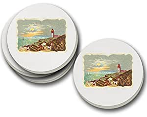 Lighthouse Vintage Look Sandstone Coasters Round Set of 4