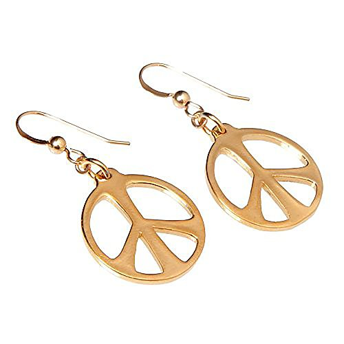 Cast Wire Gold Dangle Pendant (Medium Peace Symbol Gold-dipped Earrings on French Hooks)