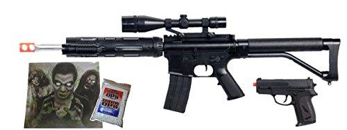 UKARMS Spring M4 M16 Airsoft Rifle w/Scope, Flashlight, Bonus Pistol, 1000 BBS & Target (Best Air Pistol For Hunting Uk)
