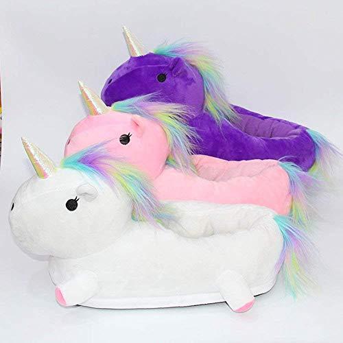Ragazze Adulti Donna Adulto Peluche Uomo Shine Invernali 42 Unicorno per Regalo Bianca Unisex Pantofole LED Queque Luce Senza 34 Formato UE 67Pqzw