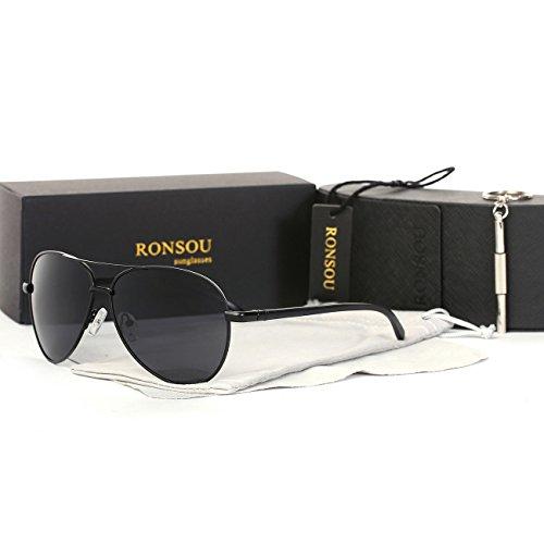 Ronsou Men Women Aviator Polarized Sunglasses Al-Mg Classical eyewear For Driving Fishing Outdoor black frame/gray - Kardashian Black Aviator Wears Kim Sunglasses