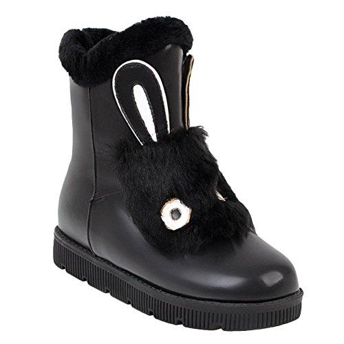 Charme Voet Dames Schattig Nepbont Fluwelen Voering Winter Platte Sneeuw Korte Laarzen Zwart