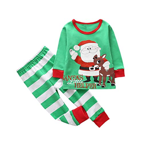 2018 Clearance Kids Christmas Party Outfits Set Pajama,Toddler Baby Girl Boy Deer T-shirt Tops Plaid Pants Home Wear (Green C, 4T)