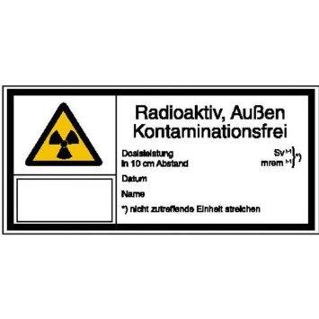 INDIGOS UG - Strahlenschutz Radioaktivität, Au. Kontaminationsfrei Warnschild, selbstklebend - 80x7,40 cm