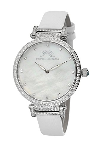 Porsamo Bleu Chantal Satin Covered Genuine Leather Women's Watch with White Topaz 673ACHL (Strap Watch Mop Satin)