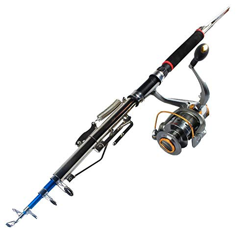 Outdoor sports fashion home FRP Rigid Support telecasting Spring Folding seapole Telescopic Automatic Fishing Rod Fishing Gear, 10-Axis 3000 Fishing Vessel, 2.4