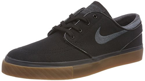 (Nike SB Zoom Stefan Janoski Canvas Black/Anthracite/Gum Medium Brown Men's Skate Shoes (12))