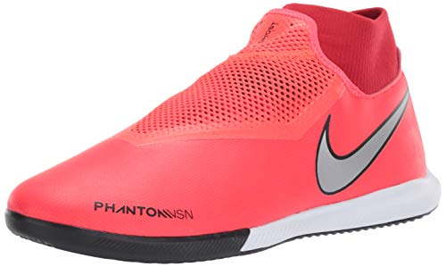 Nike Men's Phantom VSN Academy DF IC Soccer Shoes (8.5 M US, Bright Crimson/Gym Red/Black/Metallic Silver)