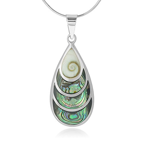 (Chuvora 925 Sterling Silver Beautiful Shiva Eye and Abalone Shell Inlay Teardrop Pendant Necklace, 18