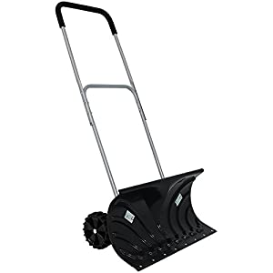 CASL Brands Heavy-Duty Rolling Snow Pusher with 6-Inch Polypropylene Wheels and Adjustable Aluminum Handle – Wheeled…