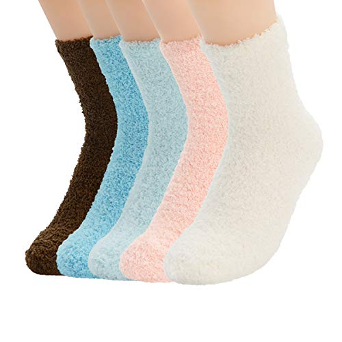 Zando Womens Winter Warm Fuzzy Fluffy Socks Casual Super Soft Crew Sock Microfiber Thick Home Sock Cozy Plush Slipper Sock 5 Pairs Vintage Solid One Size